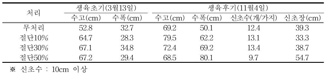 동계 절단전정 생육초기와 후기의 수체 생육(2년생 브라이트웰, 2013년)