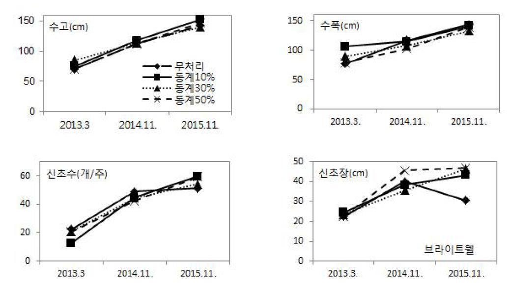 동계 솎음전정 정도에 따른 연차간 생육 변화(브라이트웰)