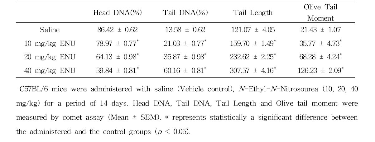 Comet assay를 이용한 N -Ethyl-N -Nitrosourea(ENU)에 대한 정자 독성