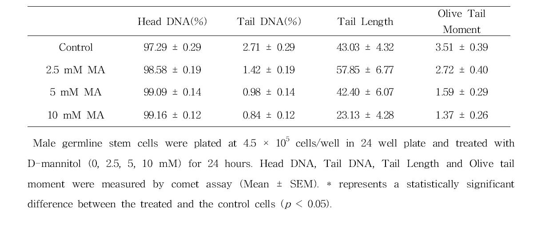 Comet assay를 이용한 D-mannitol(MA)에 대한 수컷 생식줄기세포 독성