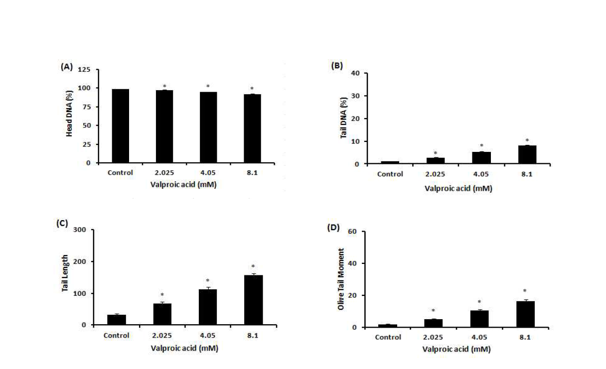Comet assay를 이용한 valproic acid(VPA)에 대한 수컷 생식줄기세포 독성
