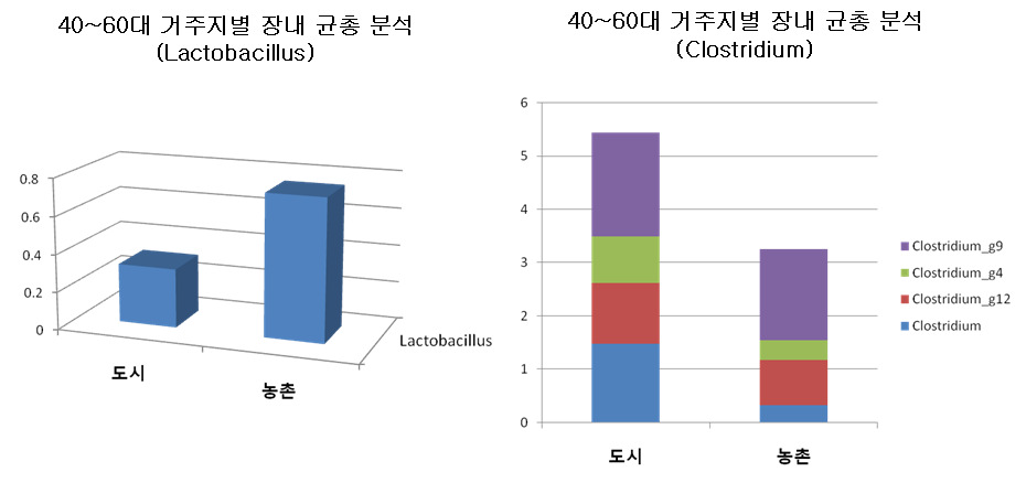 40~60대의 거주지에 따른 Lactobacillus와 Clostridium의 군집 비교.