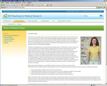 NIH-Human Microbiome Project 홈페이지
