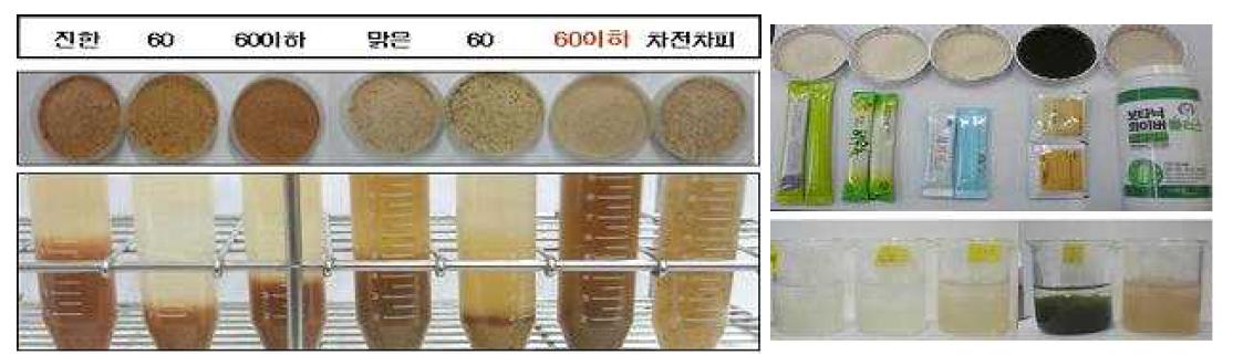 배박 종류별 크기별 선발(좌), 상업용 식이섬유 제품들(우)