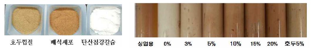 치약 재제들 (좌), 유아용치약(우)