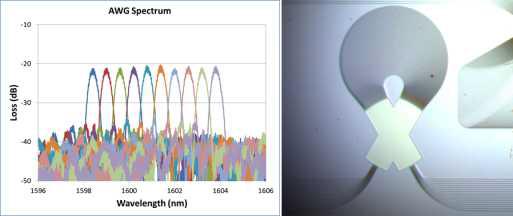250 nm SOI 기반 AWG 와 스펙트럼