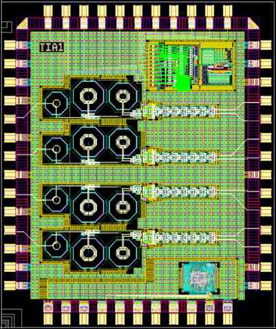 10 Gb/s 4-CH TIA 칩 형상 (2.4mm x 2.0mm, 58 Pin)