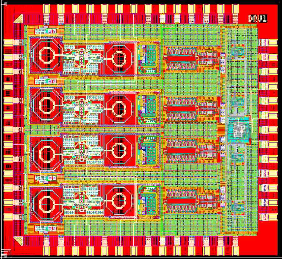 10G 4-CH VCSEL Driver 칩 형상 (2.2mmx2.4mm, 54 Pin)
