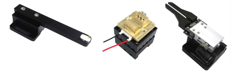 LDD & TIA 제어용(좌), Tx&Rx 모듈 고정용(중간) 및 광도파로 정렬용(우) 지그