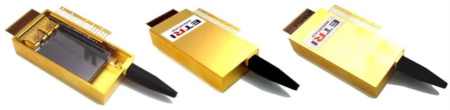 PtP WDM용 Butterfly형 CMOS 포토닉스-전자소자 통합 모듈의 내부(좌), Tx 모듈(중) 및 Rx 모듈(우)