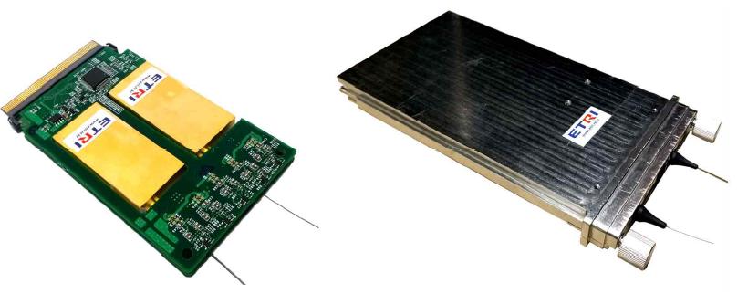 OLT 광 트랜시버 연구시제품의 내부(좌) 및 외형(우)