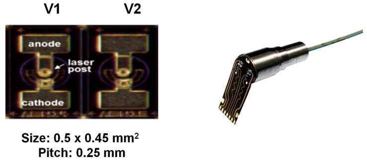 VCSEL 어레이 칩(좌) 및 패키지 된 TOSA(우)