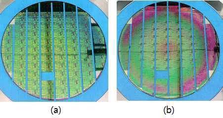 제작된 프로토타입 (a) 220 nm SOI (b) 500 nm SOI