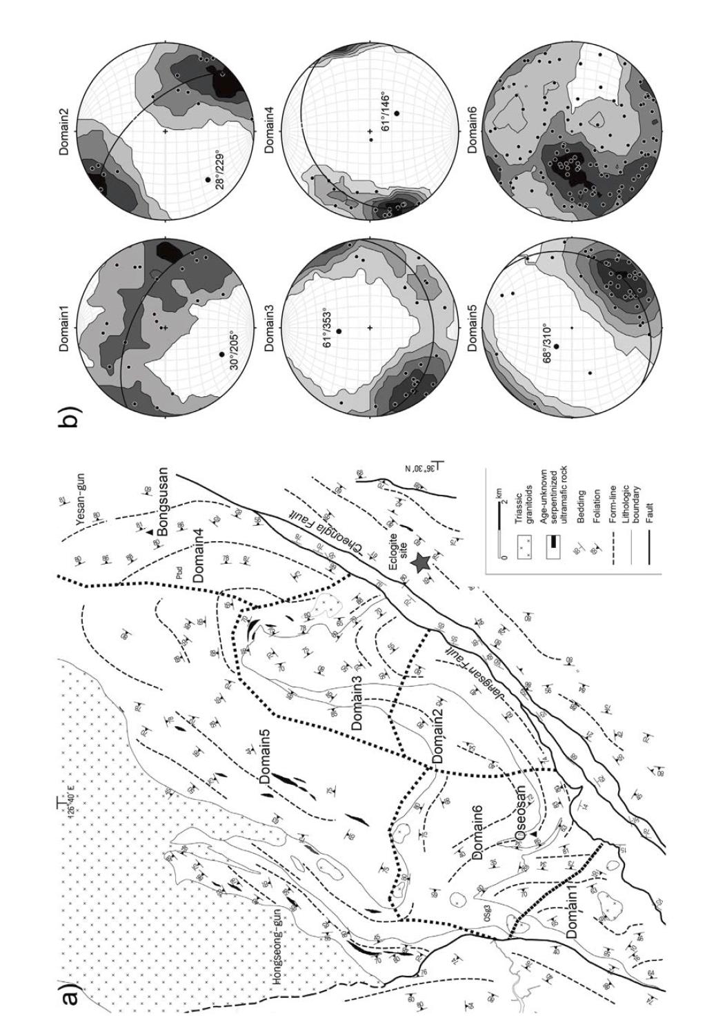 a) 오서산돔의 지질구조도. b) 각 영역 별 습곡축을 보여주는 π-도표.