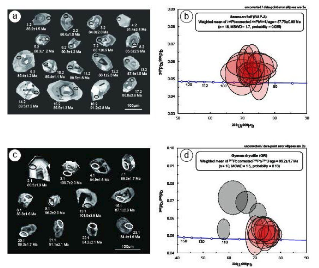 법성포화산암 저어콘의 CL 영상과 SHRIMP 연대측정.