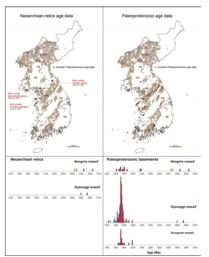 한반도에 분포하는 시생대 후기 잔류암 및 고원생대 암류의 분포 및 지질연대자료