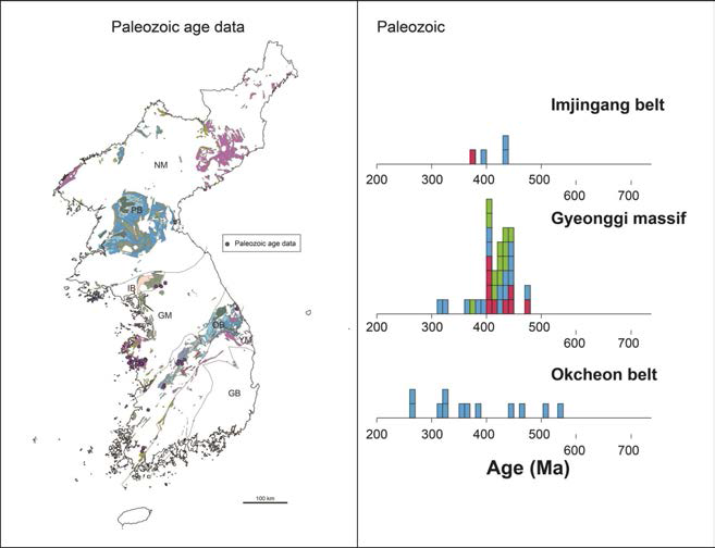한반도에 분포하는 고생대 암류의 분포 및 지질연대자료