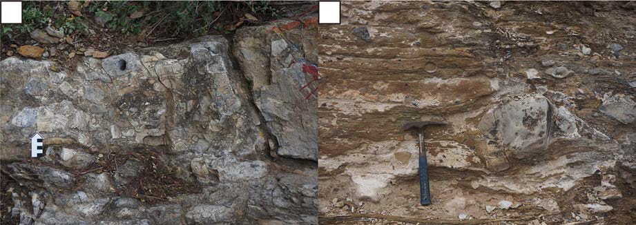 에디아카라기 Zhengmuguan층 최하부의 빙력토(a)와 정합적으로 빙력토 지층을 덮고 있는 빙하낙하석을 포함하는 석회암 지층(b).