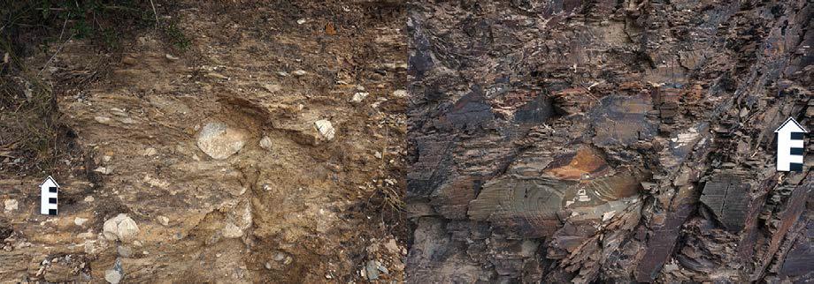 Helanshan 국립공원 단면의 하부 암상.