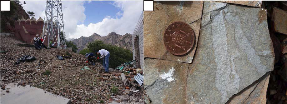 에디아카라기 Tuerkeng층에서 발견된 Shaanxilithes (b)와 화석이 발견된 노두(a).