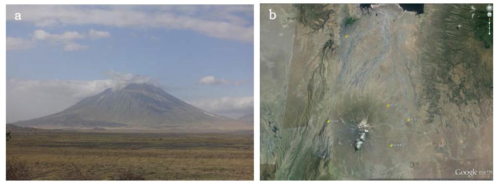 올도인요랭가이 화산 및 GPS 상시관측소 분포도.