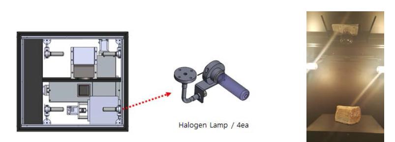 할로겐 램프 장착 모습과 실제 촬용 장면