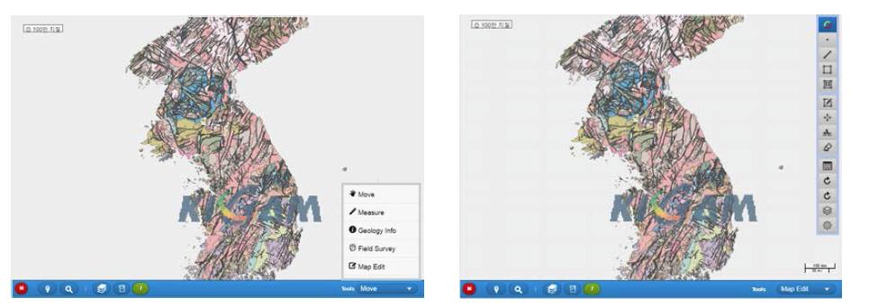 메인메뉴 및 편집메뉴 전환화면