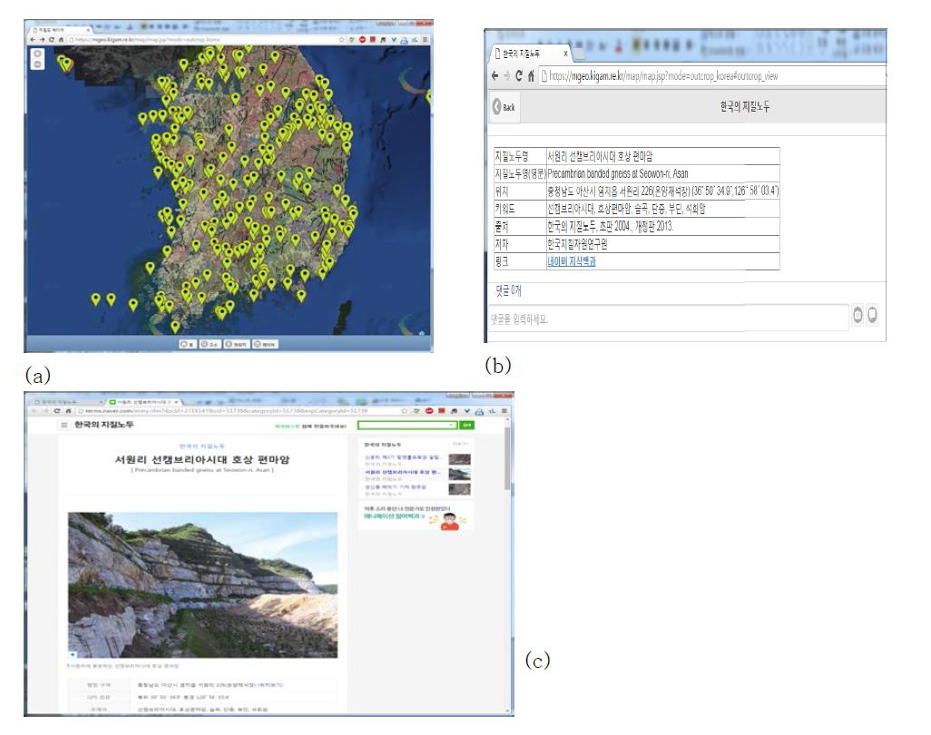한국의 지질노두 위치(a) 및 지질노두 설명(b) 및 한국의 지질노두 네이버 지식백과 서비스
