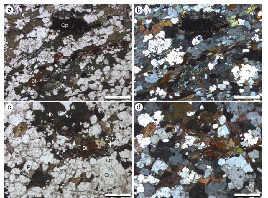 동만도 각섬암(a, b) 및 토날라이트의 편광현미경 사진(c, d).