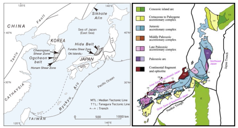 동아시아 지체구조도와 일본 열도의 지체구조적 층서구분도