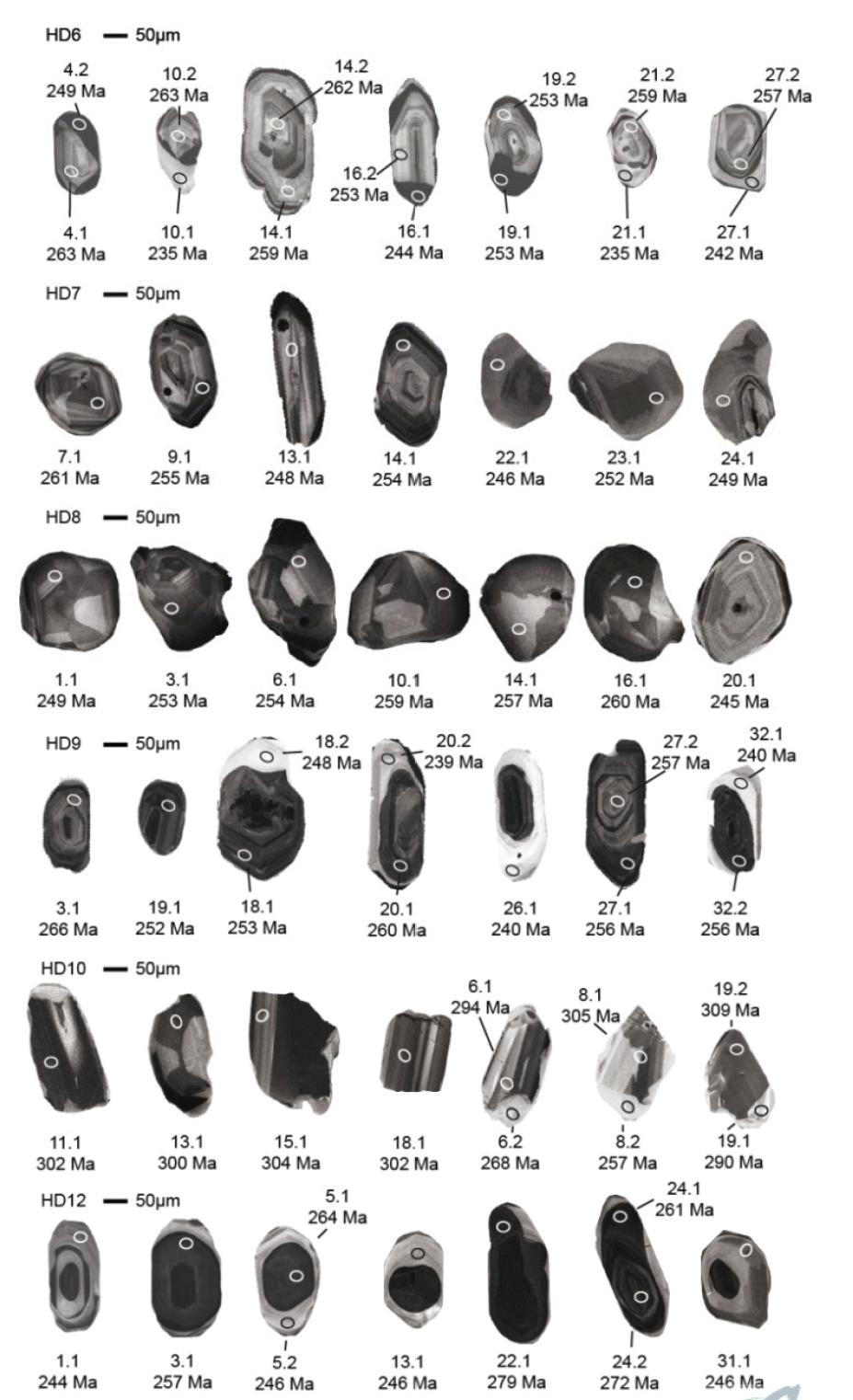 히다 정편마암류의 대표적인 저어콘의 음극발광영상과 SHRIMP U-Pb 연령