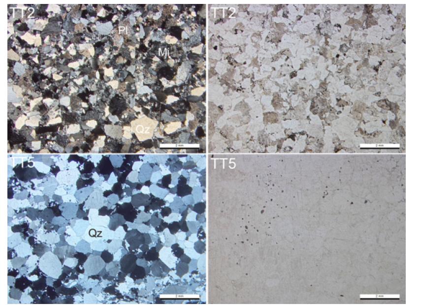 테토리층군 사암(TT2)과 사암 내 규암역(TT5)의 현미경 사진.