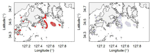 (a) Digitized original red tide data and (b) interpolated red tide data at regular grids