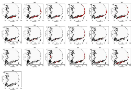 Spatial distributions of the red tide occurrence in the sea areas around the Korean Peninsula during 1998 ~ 2016