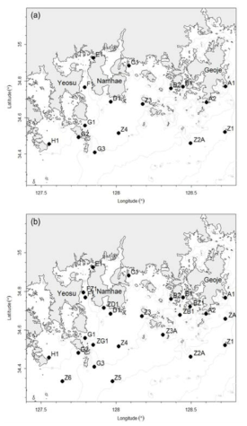 Sampling stations in (a) June, 2016 and (b) August, 2016