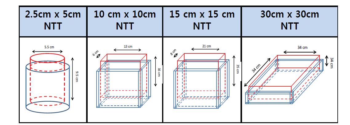 스케일별 NTT 제조용 양극산화전해조 특성
