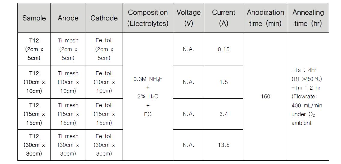 NTT 대면적화를 위한 양극산화 조건