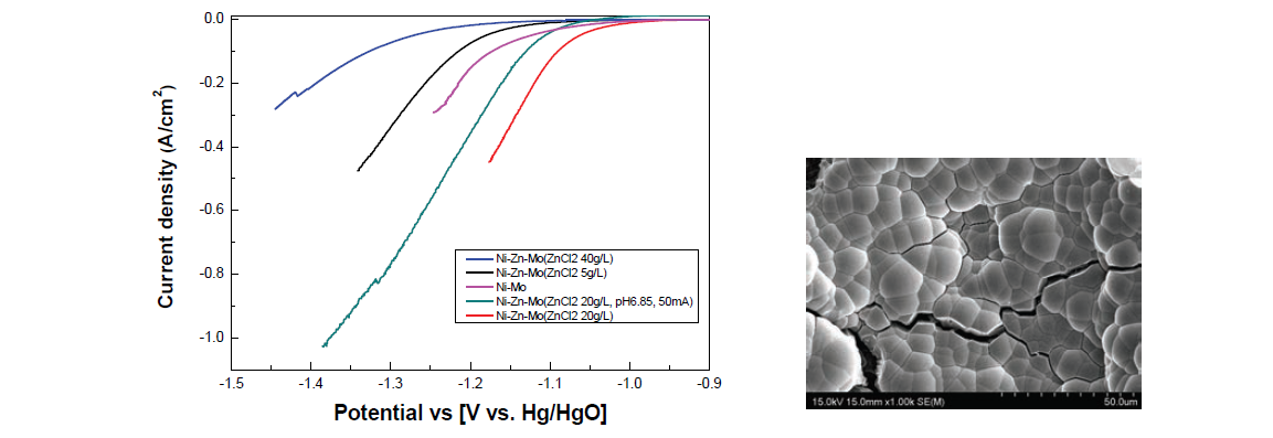 좌) Ni-Mo 및 Ni-Zn-Mo 도금 전극의 도금조건에 따른 HER LSV결과(1M KOH, 25℃), (우) Ni-Zn-Mo(pH 6.8, ZnCl2 20g/L, 2h at 50mA/cm2) 전극 표면 SEM분석