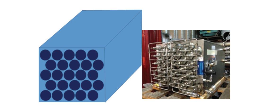 (좌) 25 kWh 외부열교환형 수소저장시스템 개념도, SNL의 수소저장시스템