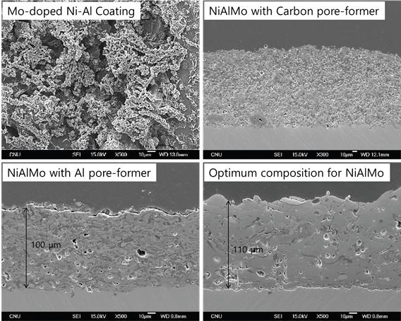 플라즈마 가tm분사에 의해 제조된 Mo-precursor, pore-former 그리고 단일 조성계 Ni-Al-Mo 코팅층