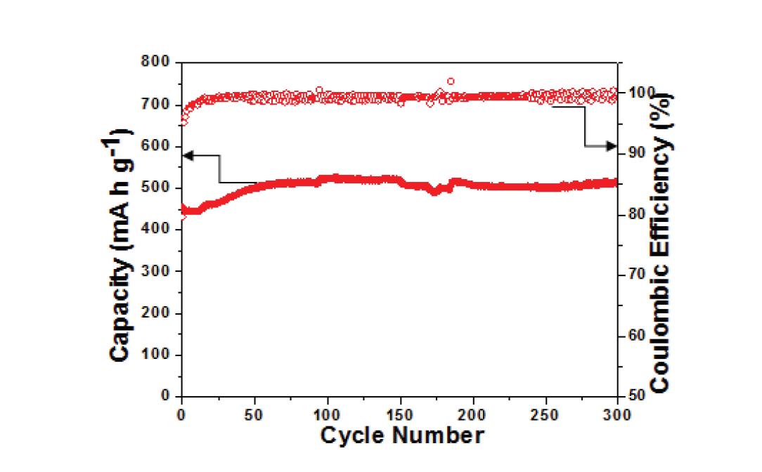 합성된 Fe3O4/Fe/탄소 복합체의 Cycle 특성