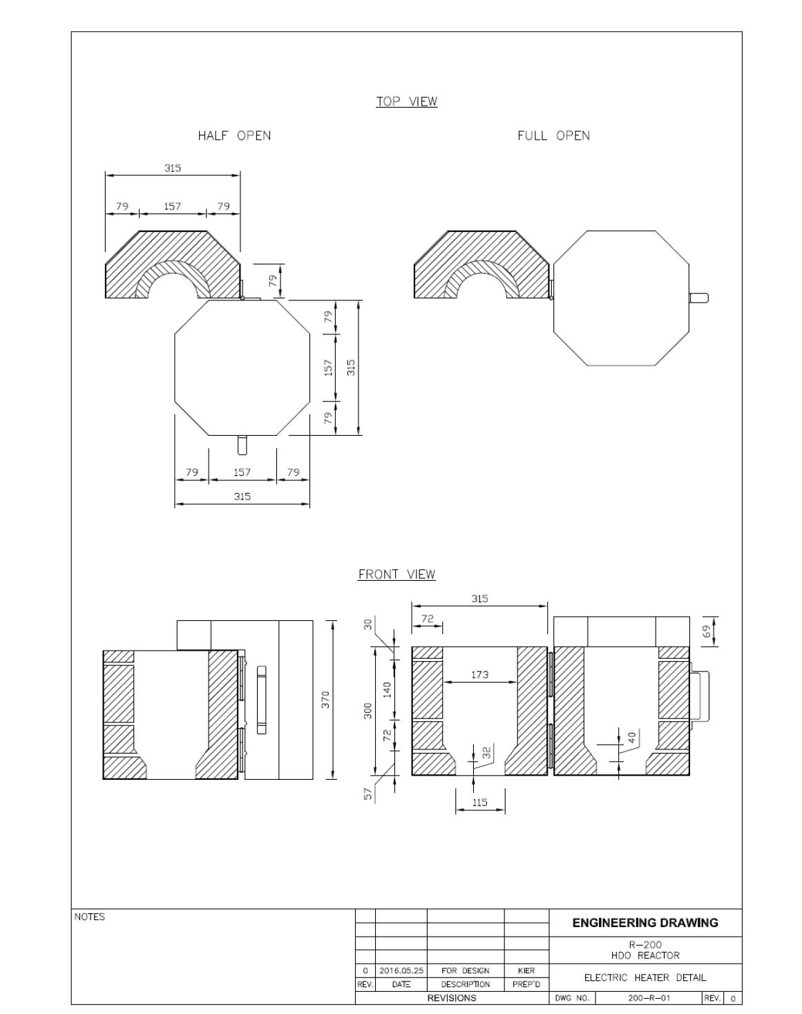 R-200 HDO reactor 제작 도면 (Electric Heater Detail)