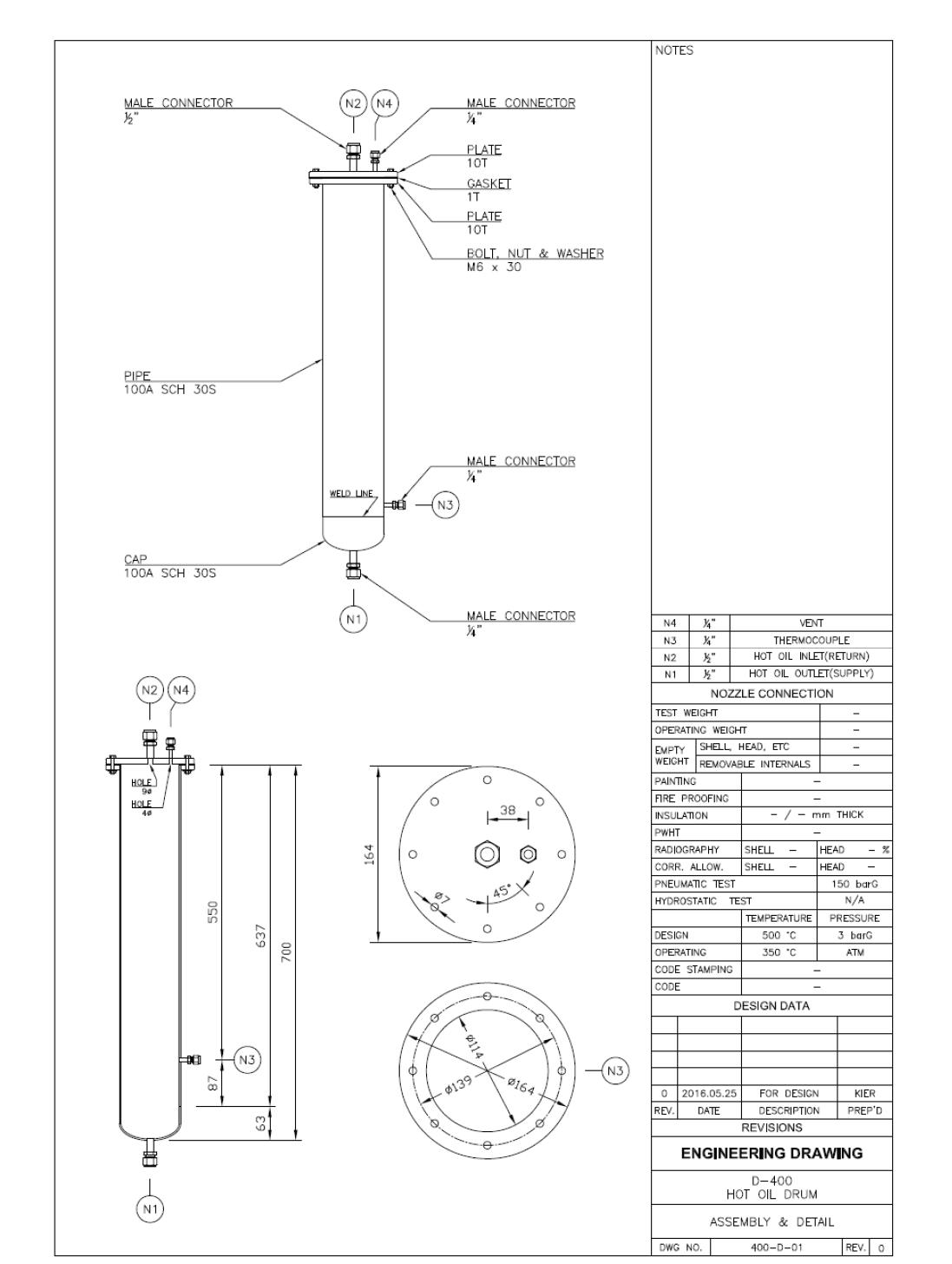 D-400 Hot Oil Drum 제작 도면 (Assembly & Detail)