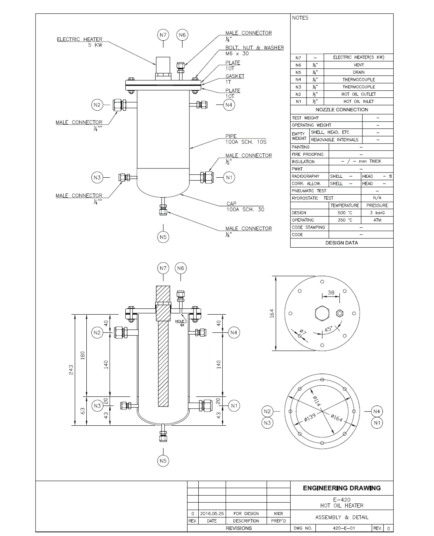 E-420 Hot Oil Heater 제작 도면 (Assembly & Detail)