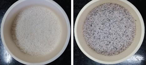 산 처리 (좌) 및 미 산 처리 후 열처리한 왕겨 유래 실리카 샘플