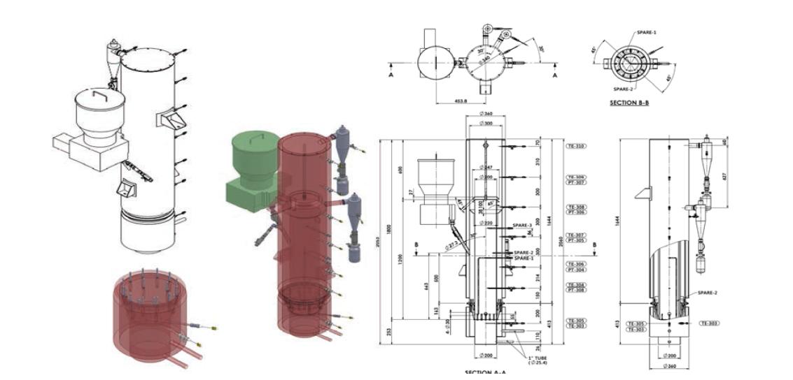내부순환유동층 반응기의 조감도 및 도면