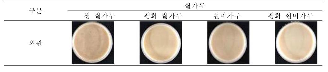쌀가루 종류 별 귀리죽의 외관