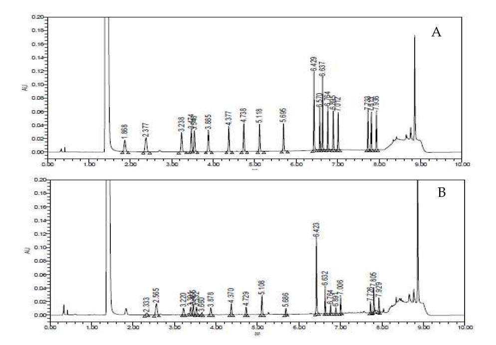 아미노산 표준물질(A) 및 귀리추출물(B)의 UPLC 크로마토그램
