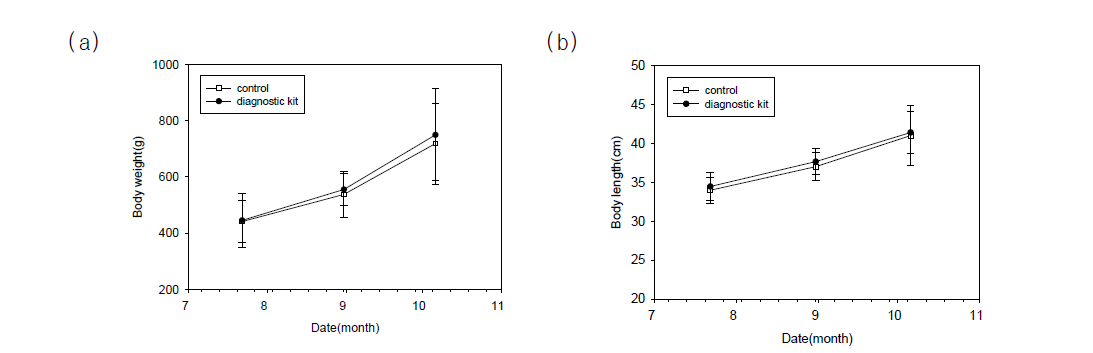 Changes in body weight (a) and total length (b) of cultured flounder after early disease treatment