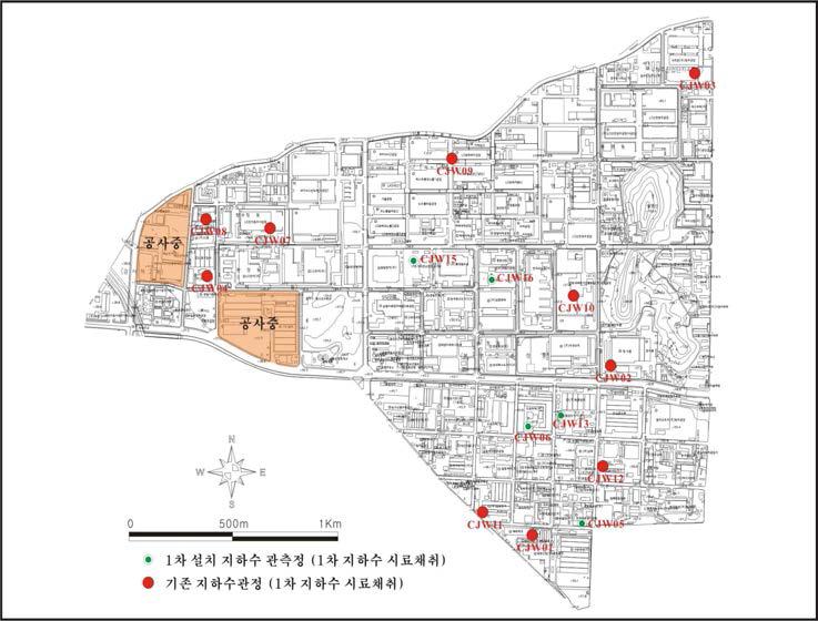 청주지방산업단지 토양지하수 환경조사(2007) 지하수시료 채취지점